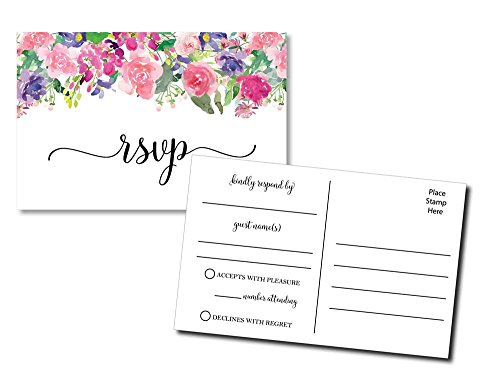 Pink Response Cards (50 Floral RSVP Postcards - Any Occasion - Response Card, RSVP Reply, RSVP kit for Wedding, Rehearsal, Baby Bridal Shower, Birthday, Retirement Party Invitations)