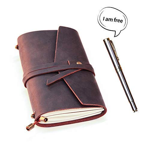 LEATHER JOURNAL Writing Notebook,Refillable Handmade Traveler's Notebook,Antique Leather Diary for Men & Women,Perfect to write in, Travel Journal, Small Leather Notebook with Pen,Black by COMESONG (Image #2)