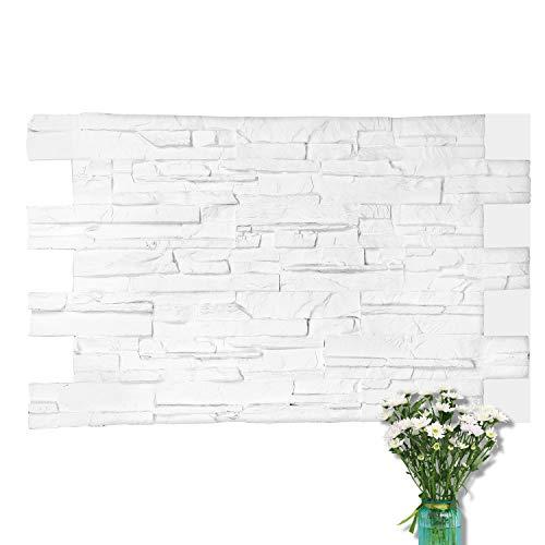 Loryro 3D Wall Panels FRP Faux Stone Decorative Wall Tiles Wallpanel for Extrior and Interior Wall Art, Matt White (1 Box, 44