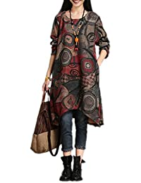 FDFAF Fashion cotton vintage print women casual loose autumn winter dress party vestidos femininos dresses NEW