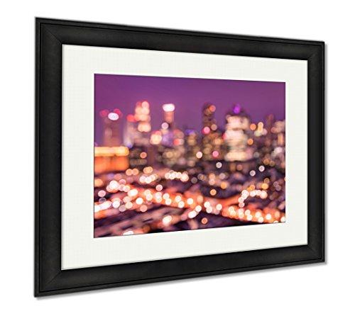 Ashley Framed Prints Bokeh Filter Of Singapore Skyline From Above During The Blue Hour Asian Modern, Wall Art Home Decoration, Color, 26x30 (frame size), Black Frame, - Blue Glasses Filter Light Singapore