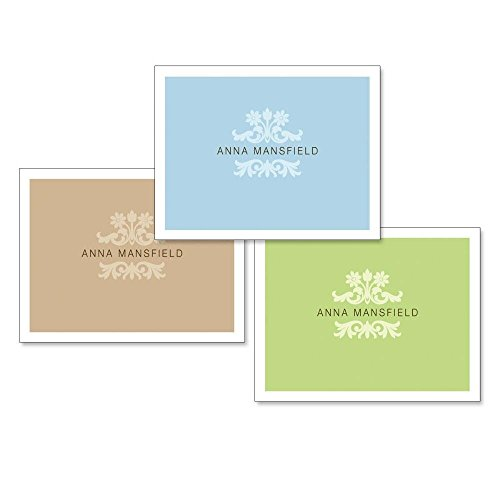 Color Block Personalized Note Card Set (24 cards - 8 cards of each color) by Current