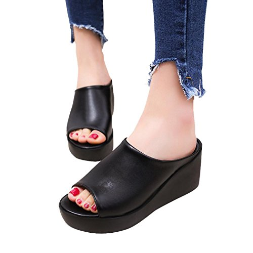 Dasuy Women's Fish Mouth Platform Wedge Sandals Chunky High Heels Shoes Women Open Toe Slippers Pumps (US:7, Black)