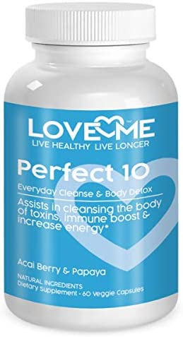 Love Me Nutrition – Perfect 10 – Cleanse Body Detox. Acai Berry Papaya. Weight Loss, Lowers Cholesterol Levels, Anti-Aging Properties. Natural. No Artificial Ingredients 60 Vegi Caps