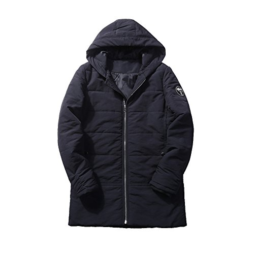 Men's Warm Padded Down Outwear Black Parka Windproof Mid Coat Thick Jacket Long Lsm Coat 5ZxBTnUTa