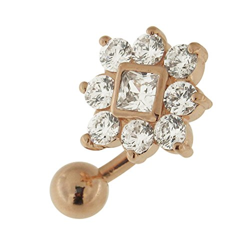 Micron Steel Gold 3 Plated (3 Micron 18K Rose Gold Plated Clear CZ Stone Square Flower Reverse Bar Design 925 Sterling Silver Belly Button Ring)