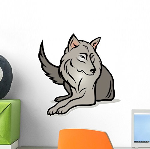 Cartoon Wolf Wall Mural by Wallmonkeys Peel and Stick Graphic (12 in H x 12 in W) WM96330