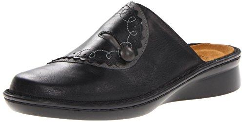 Naot Women's Encore Flat, Black Raven Leather/Shadow Gray Nubuck, 37 EU/6-6.5 M US