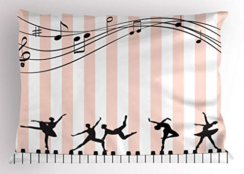 - Lunarable Musical Pillow Sham, Ballets and Ballerinas Performing a Show on Keyboards and Candy Stripes, Decorative Standard King Size Printed Pillowcase, 36 X 20 Inches, Rose White and Black