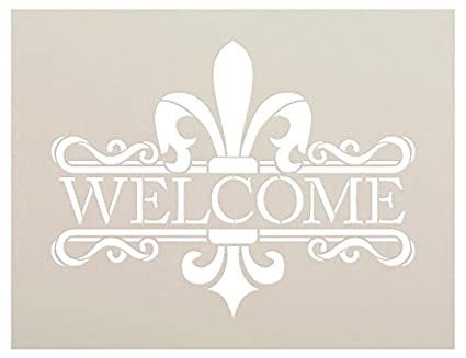 image regarding Welcome Signs Template titled Exquisite Fleur De Lis Stencil as a result of StudioR12 Reusable Mylar Template Retain the services of in direction of Paint Wooden Indicators - Pallets - Welcome Indicators - Do it yourself French Household Decor -