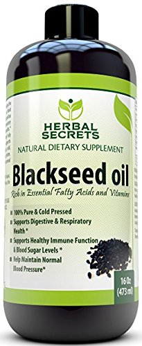 Herbal Secrets - 100% Pure and Cold Pressed Blackseed Oil, 16 Fl Oz