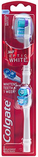 Colgate 360 Optic White Battery Toothbrush Replacement Head – 2 count
