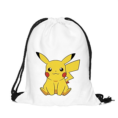- OLSS-Original Shoulder Bag Pumping Rope Backpack Pokemon Go! Pattern Printed Bundle Mouth Single Pocket Shoulder Bag (Yellow)