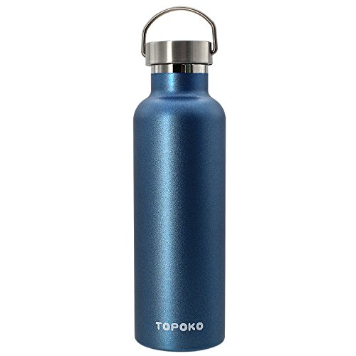 Metal Water - 25 OZ Stainless Steel Vacuum Water Bottle Double Wall Insulated Thermos Leak Proof BPA free, Wide Mouth With Metal Lid-Blue