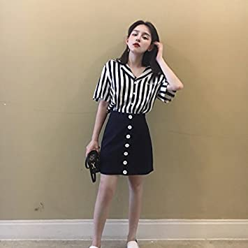 bfb92c43b79 Amazon.com   Summer Korean fashion leisure suit loose short-sleeved striped  shirt shirt + skirts skirt two-piece women for women girl   Beauty
