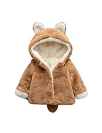 DAZISEN Winter Baby Coats Thicken Hooded Jackets Outwear Warm Clothes 0-3 Years
