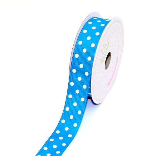 Turquoise Polka Dot (LUV RIBBONS 7/8-Inch Grosgrain White PolkaDots Ribbon by Creative Ideas, 10-Yard Turquoise)