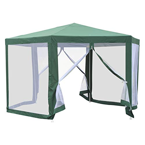 Outsunny Outdoor Cathedral Style Roof Party Gazebo with Mesh Walls- Green