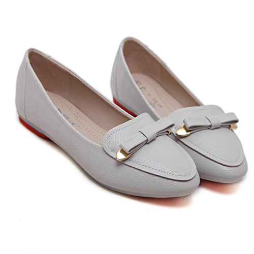 Court Single Weiß Neue Work Low GRAY Flats Grau Freizeit Frühling Herbst Shallow Damen Fliege Kopf NVXIE Pumps Soft Schuhe Rough Mund Ferse EUR38UK55 Party Anti Rutsch Bottom Schuhe Runde FUwxpI1pq5