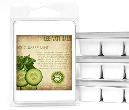 Lee Naturals Spring & Summer - (2 Pack) Cucumber Mint Premium All Natural 6-Piece Soy Wax Melts. Hand Poured Naturally Strong Scented Soy Wax Candle Cubes