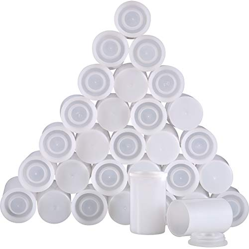 Jovitec 30 Pieces White Plastic Film Canister Holder, 35 mm Empty Camera Reel Containers, Storage Containers Case with Lids for Storing Small Accessories, Film, Keys, Coins, Art Beads