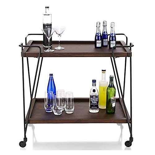 Kitchen Cart European Wrought Iron Hotel Dining Car, Trolley Wine Rack Multi-Function Rack Home Trolley with Wheels (603575cm) by Kitchen Cart (Image #3)