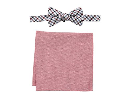 Tommy Hilfiger Men's Gingham and Oxford Pre-Tied Bow Tie and Pocket Square Set, red, One (Red Gingham Pocket Square)