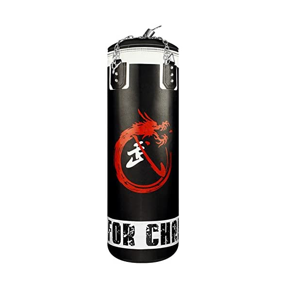 Flexzion Heavy Punching Bag MMA Boxing Kickboxing Workout Training Exercise Practice Gear Empty with Rotating Chains for Adults Men Women Black 3