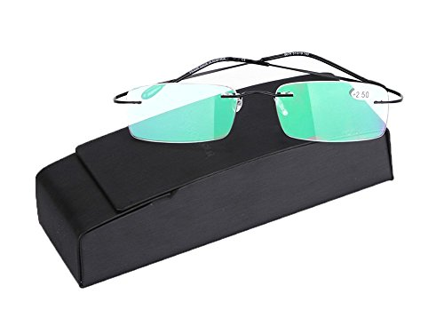 SOOLALA High End Lightweight Titanium Stainless Steel Rimless Magnifying Reading Glasses Black 2.5D