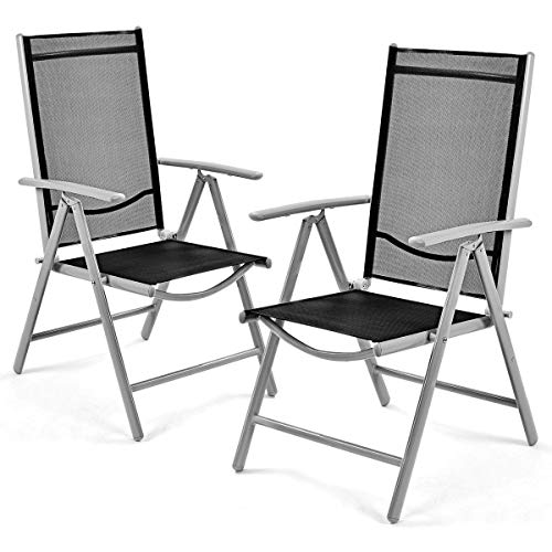 Giantex Set of 2 Patio Folding Chairs Adjustable Reclining Indoor Outdoor Garden Pool (Outdoor Chair Plastic)