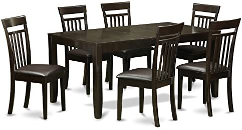 LYCA7-CAP-LC 7 Pc Dining room set-Table with Leaf and 6 Dining Chairs