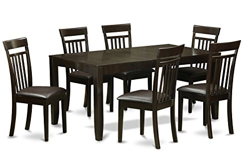 (East West Furniture LYCA7-CAP-LC 7-Piece Dining Table Set, Cappuccino Finish)