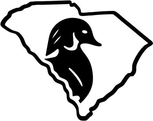 Mandy Graphics South Carolina State Duck Hunting Vinyl Die Cut Decal Sticker for Car Truck Motorcycle Windows Bumper Wall Home Office Decor Size- [8 inch/20 cm] Wide and Color- Gloss White