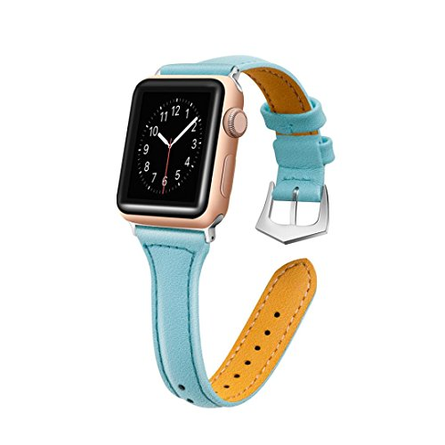 (Luxury Leather Bands for Apple Watch Band 42mm Buckle Replacement Slim Wristband Sport Strap for Iwatch Nike+, Series 3, Series 2, Series 1 Edition, 10 Colors Available (Mint Green))