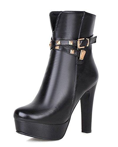 Aisun Womens Fashion Studded Buckle Strap Round Toe Side Zipper Dress Chunky High Heel Platform Booties Ankle Boots Shoes Black VPnIrdM