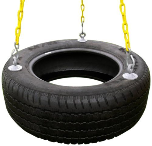 - Eastern Jungle Gym Heavy-Duty 3-Chain Rubber Tire Swing Seat with Adjustable Coated Swing Chains - Swing Set Accessories