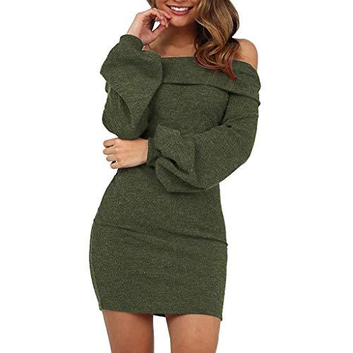 Print Interlock Turtleneck Cotton (COPPEN Women Dresses Lantern Sleeve One-Shoulder Halter Slim Sexy Dress Army Green)