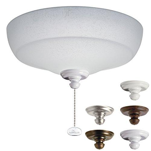 Kichler Lighting 338151MUL Universal Fluorescent Large Bowl 3LT Ceiling Fan Light Kit, White Linen Glass - Glasses Images Shades