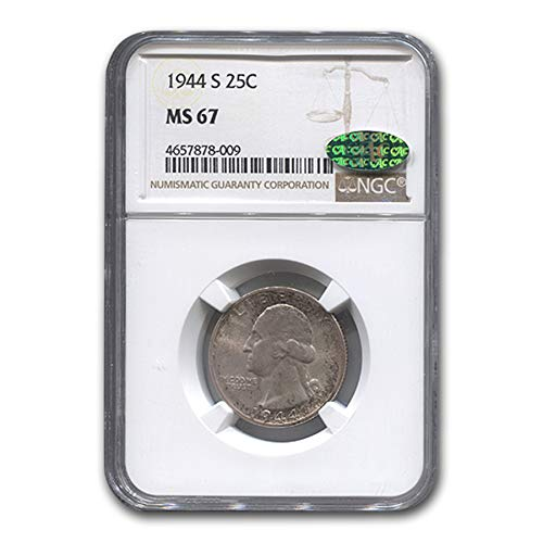 1944 S Washington Quarter MS-67 NGC CAC Quarter MS-67 NGC