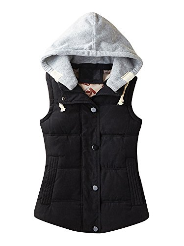 Women's Casual Winter Outerwear Waistcoat Quilted Padded Puffer Vest With Removable Hood Black Tag 2XL-US L (Vest Hooded Womens)