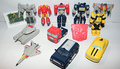 Figure Transformers Mini - Transformers Deluxe Plastic Figure Set of 14 Toy Kit with 12 Figures, Special Tattoo and ToyRing featuring Optimus Prime with 6 Transformer Figures and 6 Vehicles!