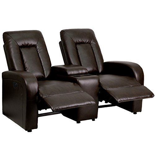 Flash Furniture Eclipse Series 2-Seat Push Button Motorized Reclining Brown LeatherSoft Upholstery Theater Seating Unit with Cup Holders
