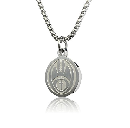 Football Cross Necklace by Pendant Sports. Presented in Black Velvet Box. Crafted in Stainless Steel. Inspiring Luke 1:37 Bible Verse on Back. Available in Many Sports.
