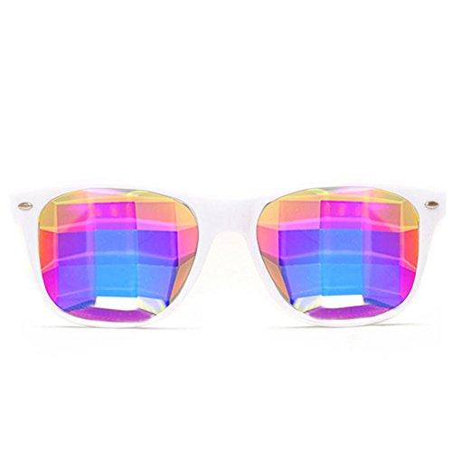 GloFX Bug Eye Ultimate Kaleidoscope Glasses (White, Bug Eye Lens) - Rave Rainbow EDM Diffraction