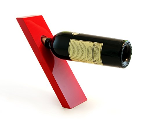 PLANK Lacquer Wood Wine Bottle Holder - Balances Wine in the Air, Red