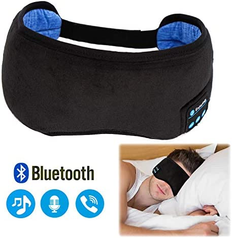 Sleep Headphones Bluetooth Eye Mask, Bluetooth Sleeping Eye Shades, Wellerly Bluetooth 5.0 Wireless Eye Cover Built-in Speakers Microphone Adjustable Washable Travel Headsets for Men and Women
