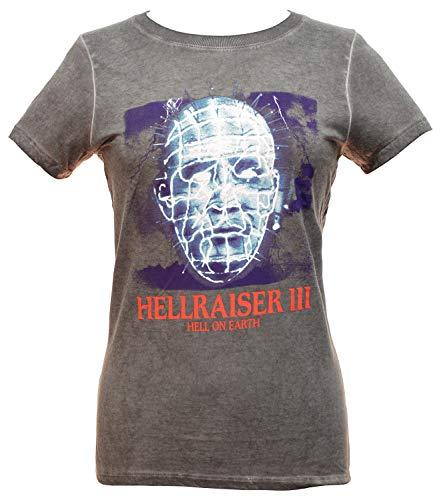 Miramax Hellraiser 3 Shirt Junior's Hell On Earth Pinhead Oil Wash T-Shirt (Large) Grey (Junior Horror Vhs)