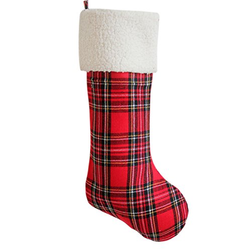 (Gireshome Red Plaid with Sherpa Cuff Christmas Stocking Xmas Tree Decor Festival Party Ornament)