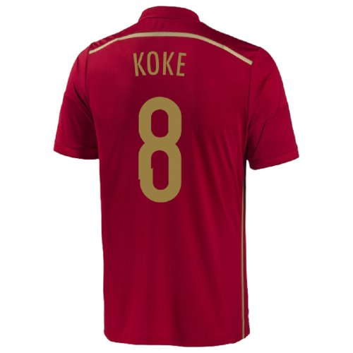 Adidas Koke #8 Home Spain Home Jersey World Cup 2014 (Youth) (YS)