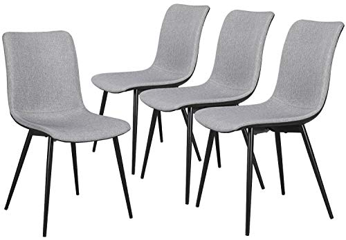 Yaheetech Dining Chairs Set of 4, Modern PU Kitchen Chairs with Fabric Linen Cushion Seat and Back Mid Century Bedroom/Living/Dining Room Upholstered Side Chairs Diner Chair, Black Metal Legs, Gray